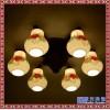 中式复古陶瓷吸顶灯 实木雕花圆形LED灯具 餐厅过道阳台灯饰