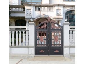 天津铝艺庭院门,别墅铝艺电动门,铝艺围墙护栏,佳美铝艺