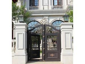天津别墅庭院门,别墅入户门,铸铝门铝艺大门定制安装