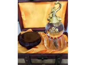 青岛水晶礼品葫芦如意摆件福禄如意来成点石成金黄金石玉石球招财