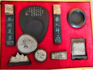 青岛三叶虫化石工艺品摆件文房四宝八件套书法用品燕子石天然原石