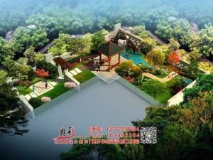 屋顶花园景观 下沉式庭院效果图设计制作