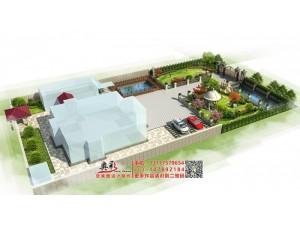 别墅后花园庭院鸟瞰效果图设计制作
