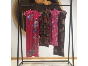 马如龙旗袍中国风19新款女装真丝品牌夏装原单正品 折扣走份
