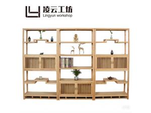 【凌云工坊】现代简约禅意实木多格储物家具