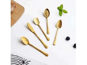 创意镀金草莓勺蛋糕雪糕勺水果勺烘焙坊工具黄油刀不锈钢餐具