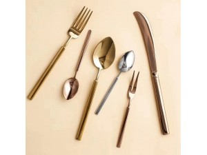 新品不锈钢圣玛德镀金方柄西餐餐具刀叉甜品咖啡勺定制logo