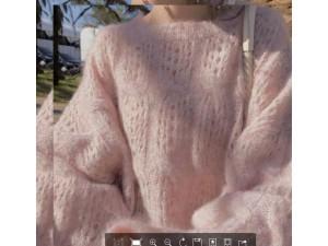 毛衣女2019新款少女味很仙的洋气套头镂空圆领宽松针织衫