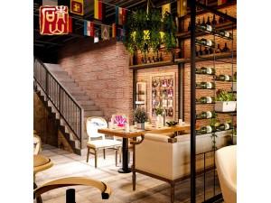 青山树皮复古酒吧装修文化石背景墙仿古人造立体室内