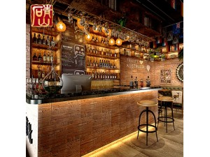 青山老船木酒吧装修文化石背景墙仿古人造艺术室内