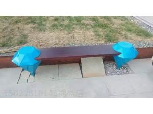 廊坊不锈钢喷绘钻石造型坐凳 园林座椅雕塑作品