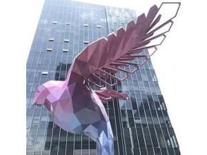 厦门金属镀彩鸽子雕塑 酒店几何翅膀摆件
