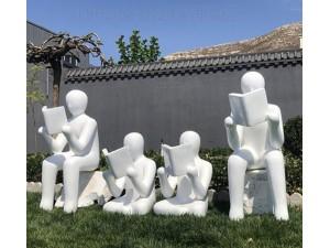 江西校园人物读书雕塑 玻璃钢抽象人物摆件