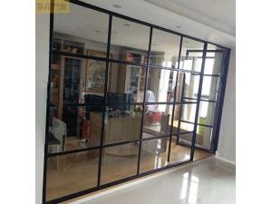 墨高门窗供应16极窄边黑框全景玻璃推拉门现货