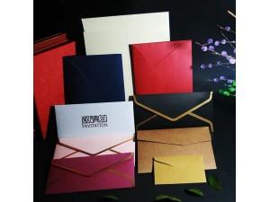 齐齐哈尔 珠光纸高档信封定制烫金logo企业邀请函