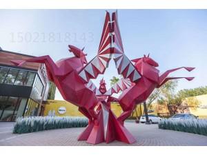 柳州大型冲孔钢板双马雕塑 步行街景观飞马动物制作
