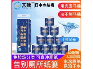 江苏文捷纸溶水卫生纸溶水纸卷筒纸厕纸有芯纸1提4层10卷