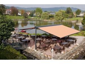 户外阳台电动雨篷停车棚餐饮商业街 伸缩式折叠雨棚