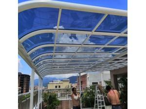 小区家用遮阳棚 户外铝合金露台雨棚 阳台pc耐力板无声雨棚
