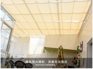 厂家上门定制商用折叠电动天棚帘阳光房 阳光面料天棚帘电动遮阳
