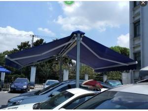 双开汽车蓬蝴蝶蓬双面伸缩篷雨篷遮阳棚车棚两面伸缩遮阳篷